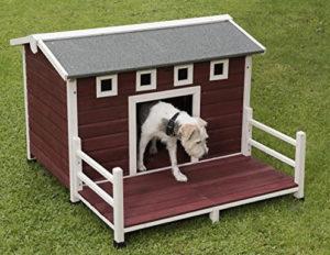 Cuccia per Cani - Animalmarketonline Cuccia per cani cuccetta in legno da esterno trattata L 114 x P 103,5 x H 76 cm (1)