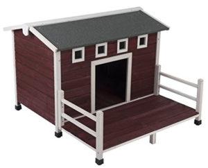 Cuccia per Cani - Animalmarketonline Cuccia per cani cuccetta in legno da esterno trattata L 114 x P 103,5 x H 76 cm (2)