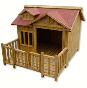 Cuccia per Cani - Cuccia e capanna per cani di lusso XL Terrazza in legno e porta a lamelle Legno massiccio (1)