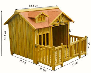 Cuccia per Cani - Cuccia e capanna per cani di lusso XL Terrazza in legno e porta a lamelle Legno massiccio (2)