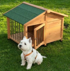 Cuccia per Cani - Cuccia per cani in legno pretrattato, resiste alle intemperie; terrazza coperta e recintata, tetto spiovente (1)