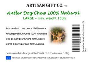 Corno di cervo ecologico da masticare per cani - Grande (L) peso minimo 150g. (1 unità) Artisan Gift Co - 2